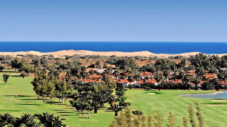 Golf course sand dunes of Maspalomas and the ocean