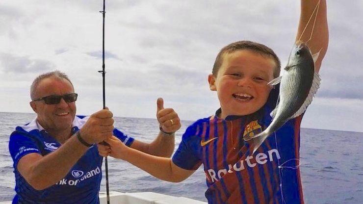 Kids fishing in Fuerteventura