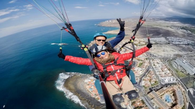 Tenerife tandem fly over coastal landscape