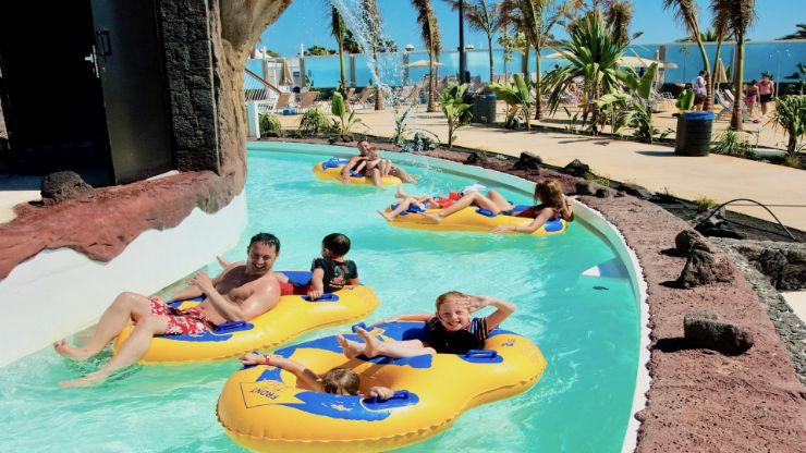 Floating on a lazy river Aqualava waterpark
